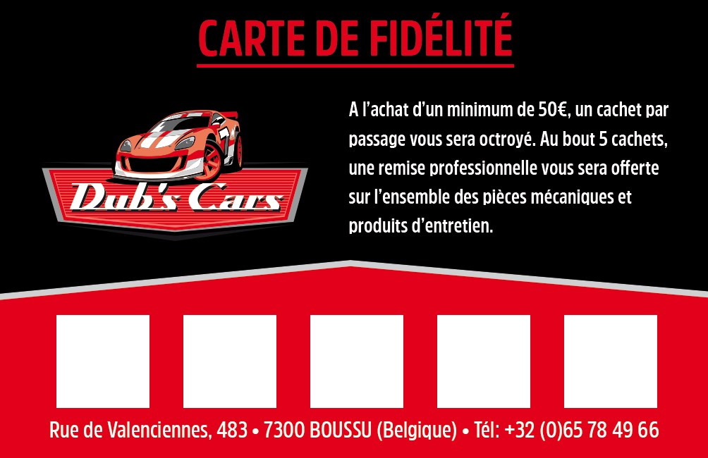 Dubs Car Garage Boussu Carte De Fidlit